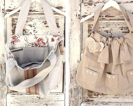 Ruffled Canvas Bag With Tattered Ruffles in Floral Cotton, Messenger Bag