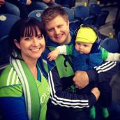 Sage's first soccer match, April. Go Sounders!