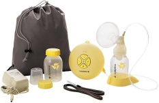 $45 // Medela Swing Single Breast Pump with AC adapter and battery power. Comes with accessories shown. Great for a travel pump or a mom who doesn't need to pump very often.